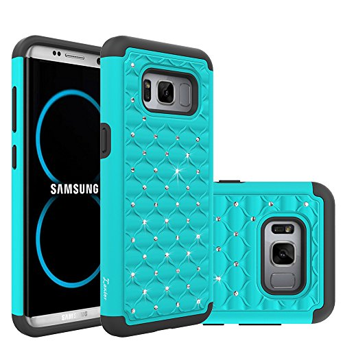 Case Hard Bling Plastic (Samsung Galaxy S8 Case, Laxier Lightweight Slim Thin Soft Silicone + Hard PC Plastic Protective Phone Cover with Bling Glitter Sparkle Rhinestone (just for the regular size S 8, not fit S 8 plus))