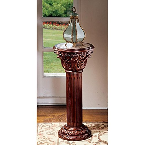Design Toscano Imperia Pedestal Column Plant Stand, Large, 36 Inch, Hardwood and Marble, ()