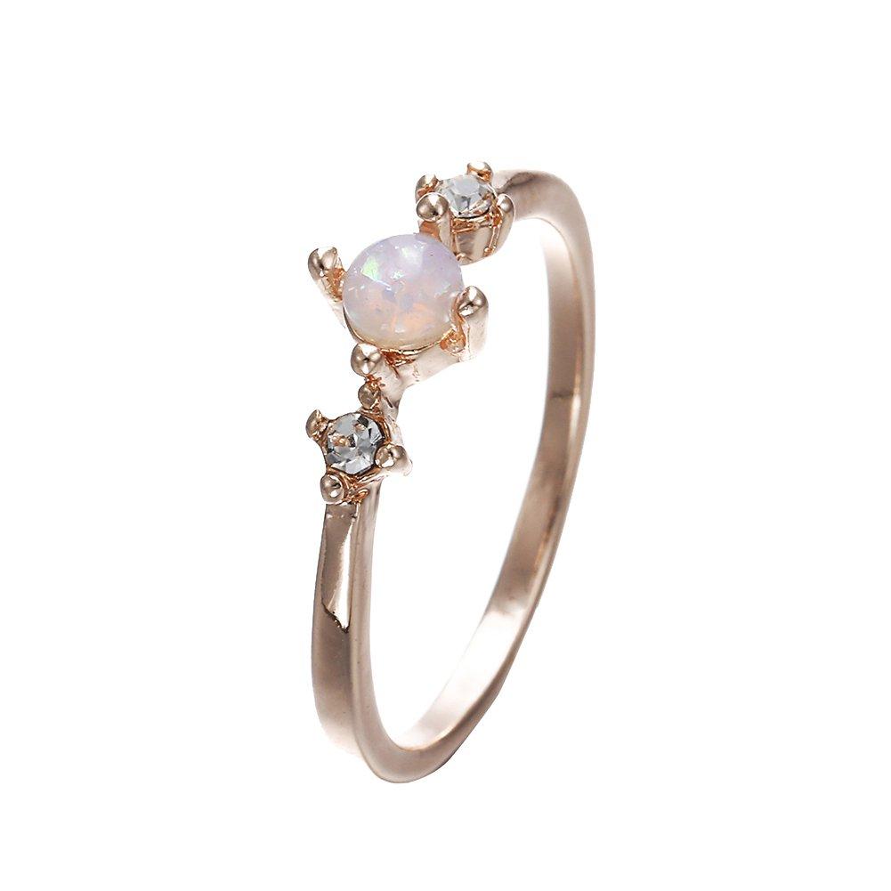 super1798 Elegant Inlaid Faux Opal Gemstone Finger Ring Wedding Engagement Women Jewelry - Rose Gold 8