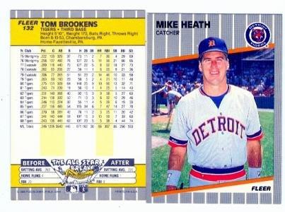 Mike Heath Tom Brookens 1989 Fleer 132 Error Back Baseball Card
