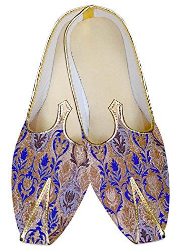 INMONARCH Hombres Dorado y Azul Zapatos de Boda MJ015042