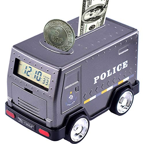 FEENM Code Electronic Piggy Banks Mini ATM Electronic Armored Car Coin Bank Box with Password Great Gift Toy for Boys Girls Children Kids Yellow (Black)