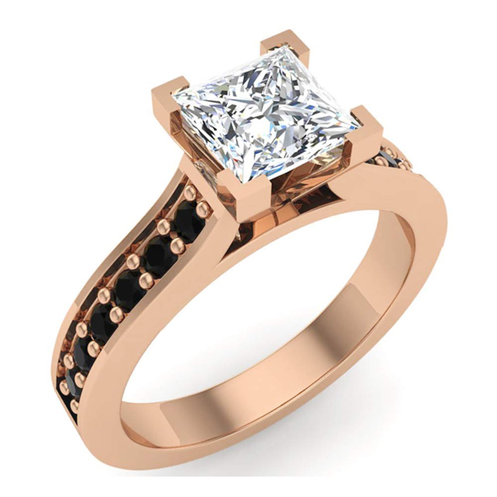 Black & White Princess Cut Diamond Engagement Ring 14K Rose Gold 1.00 ct tw (Ring Size 9)