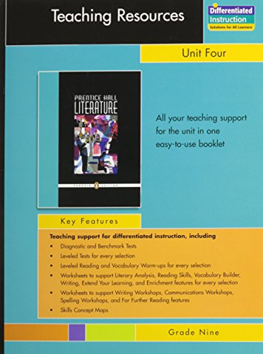 PRENTICE HALL LITERATURE PENGUIN EDITION TEACHERS RESOURCES UNIT 4      POETRY GRADE 9 2007C
