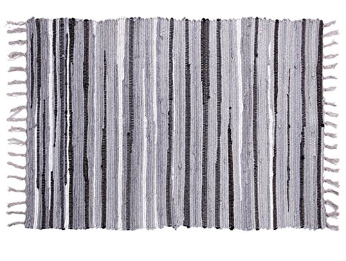 (Ojia Cotton Reversible Rag Rug Hand Woven Multi Color Striped Chindi Area Rug Entryway for Laundry Room Kitchen Bathroom Bedroom Dorm(4 x 6ft,Gray))