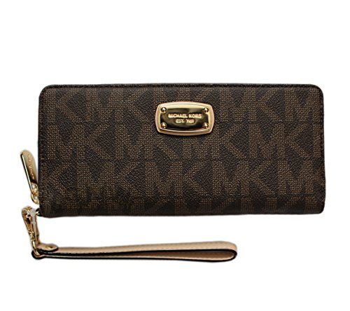 - Michael Kors Jet Set Item Travel Continental Signature PVC in Brown