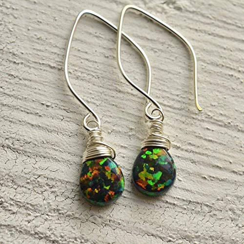 Simulated Black Opal Earrings Sterling Silver