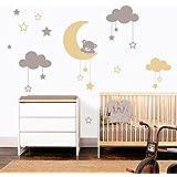 MYVINILO - adesivi murali per bambini - Moon bear / argento / beige ...