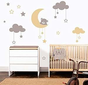 MYVINILO - Vinilo decorativo infantil - Moon bear / plata / beige (120 x 100 cm)