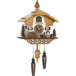 Musical Black Forest Quartz Chalet Style Cuckoo Clock with Beer Drink and Mill Wheel