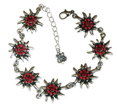 Trachtenschmuck Dirndl Edelweiss Armband mit Swarovski Elements Kristallen in Light Siam und Siam rot