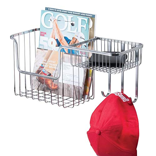 mDesign Metal Wire Wall Mount Entryway Storage Organizer Mail Basket Holder with 3 Hooks, 2 Compartments - for Organizing Letters, Magazines, Keys, Coats, Leashes - Chrome (Letters Chrome For Walls)