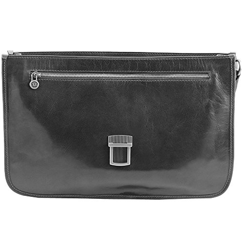 Tuscany Leather - San Gimignano - Serviette en cuir avec 2 compartiments - Miel