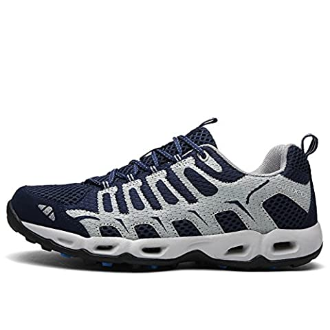 CraneLin Men's Outdoor Hiking Shoes Breathable Meshing Sneaker ClOCHSM6126-Dark Blue-42
