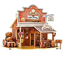 Robotime Woodcraft DIY Model Wooden House Educational & Learning Toys for Kids (American Bar)