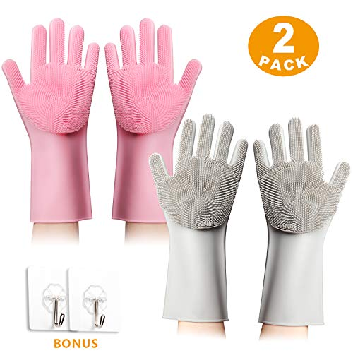 - Magic Silicone Gloves for Cleaning and Dishwashing | 2 pairs - for Kitchen and Bathroom | Anti-Slip Rubber, Heat Resistant, Scrubber Gloves with Hanging Hooks