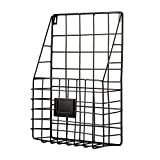 Pulatree Wall File Holder, Multi Purpose Wall Mount Hanging Folder Mail Organizer with Rail Metal Wire Baskets Hooks Rustic Industrial Style Black