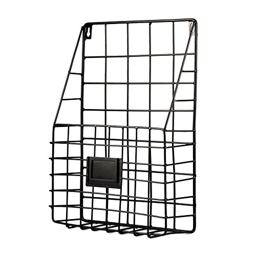 Wall File Holder Multi Purpose Wall Mount Hanging Folder Mail Organizer with Rail Metal Wire Baskets Hooks Rustic Industrial Style Black by Pulatree