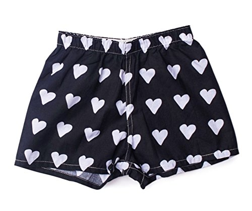 My Pipers Boxer Shorts Reimagined for Girls (X-Small, Black White Hearts)