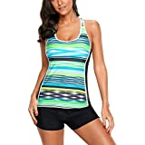 Eternatastic Womens Striped Print Racerback Tankini Swim Top No Bottom Swimsuit