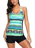 Eternatastic Womens Striped Print Racerback Tankini Swim Top No Bottom Swimsuit