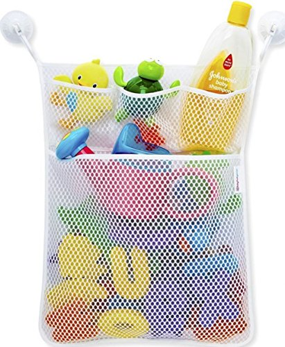 Leoyoubei Bath Tub Toys Organizer with 2 Suction Cups Toy Storage Bin,Playroom Toy Organizer 4 Pocket -Mesh Bath Bag Hanging Wall Organizer&Large 20.55x16
