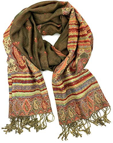 (Plum Feathers Tapestry Ethnic Paisley Pattern Pashmina Scarf ethnic paisley olive)