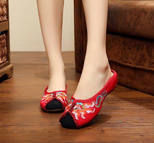 ZLL Gestickte Schuhe, Sehnensohle, ethnischer Stil, weiblicher Flip Flop, Mode, bequem, Sandalen , black , 37