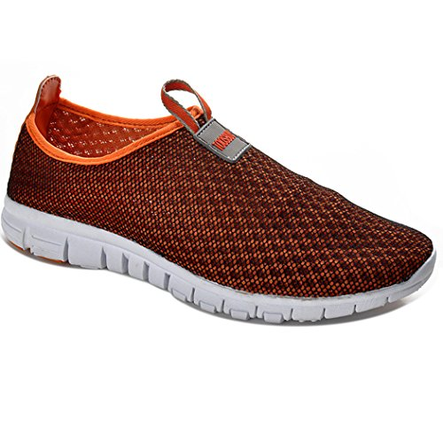 FENGDA Men & Women's Breathable Mesh Running Shoes Outdoor Beach Aqua Athletic Slip On Shoes Orange EU38