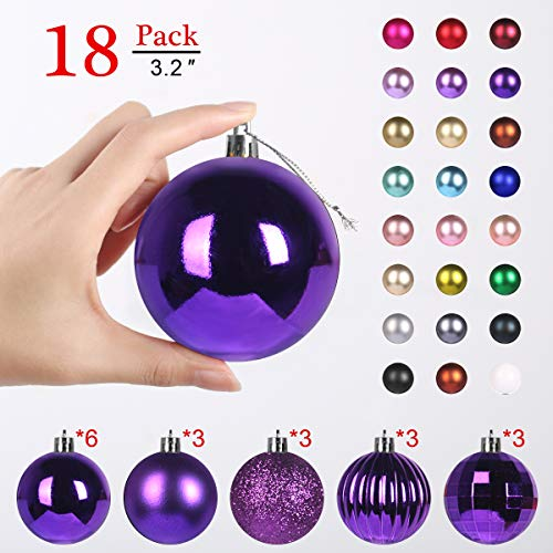 GameXcel Christmas Balls Ornaments for Xmas Tree - Shatterproof Christmas Tree Decorations Large Hanging Ball Purple3.2 x 18 Pack (Shatterproof Ornaments Christmas Tree)