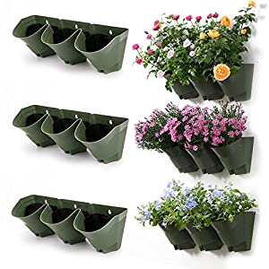 Attractive Worth Garden 3 Pack Olive Green Self Watering Vertical Garden Wall Planters