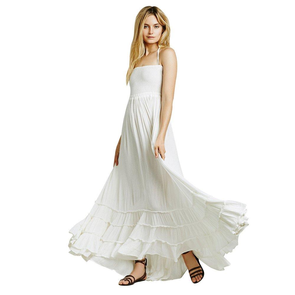 feiXIANG Damen Sommerkleid Lange Maxi Kleid Riemchen Plissee Kleid Strand Abend Party Kleid böhmischen Strandkleid rückenfreies Urlaub Ärmellos Beach Kleid