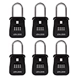Lion Locks 1500 Key Storage Realtor Lock Box with Set-Your-Own Combination, (6 Pack, Black)