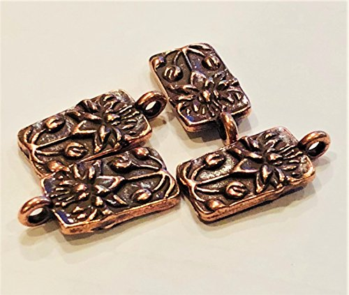 4 TierraCast Antique Copper Plated Lotus Drops 14x8mm (.55 x .31 inch) Plus ring. Jewelry Making Drop Charm
