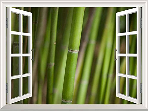 White Window Looking Out Into a Bamboo Forest III Wall Mural
