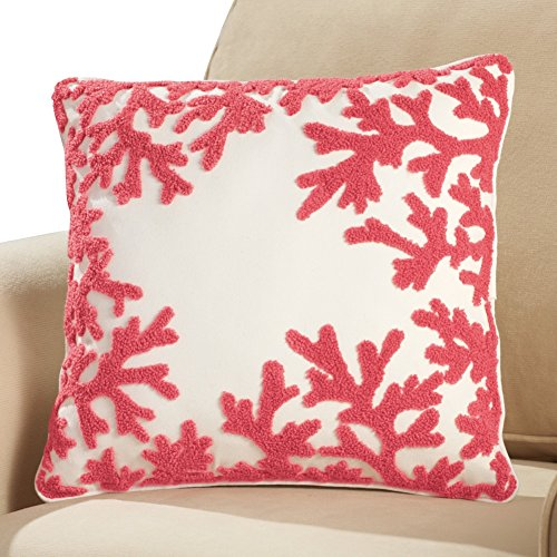 Ocean Coral Reef 16 Inch Square Accent Throw Pillow, Red (Colored Pillows Coral)
