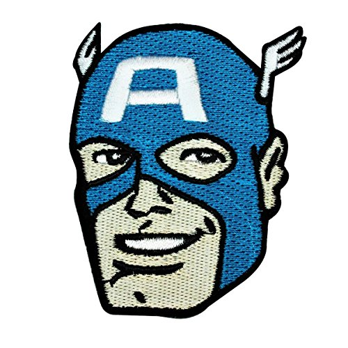 Retro Marvel Captain America Head IronOn Patch DIY Superhero Apparel Applique ()