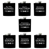 Set of 4, Set of 7 and more Custom Personalized Black Matte Flasks for Groomsmen Gifts - Uniform Style (7)