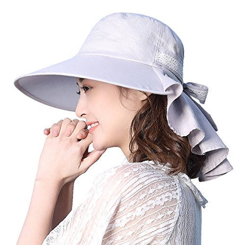 Womens Sun Protection Hats Summer Gardening Fishing Hiking Shade Hat SPF 50 Wide Brim Packable Large XL Gray Siggi