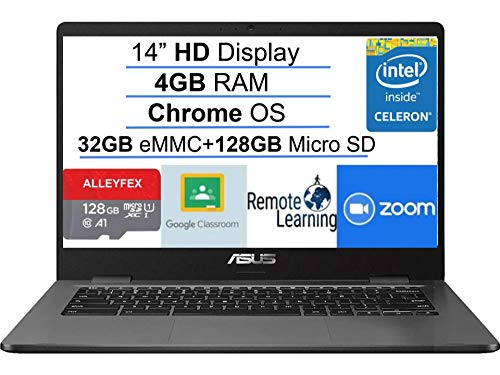 "ASUS Chromebook 14 Thin and Light Laptop 14"" HD Screen Intel Celeron N3350 4GB DDR4 160GB Space(32GB eMMC+128GB MicroSD) USB-C Webcam Chrome OS (Google Classroom and Zoom Compatible) + AllyFlex MP"