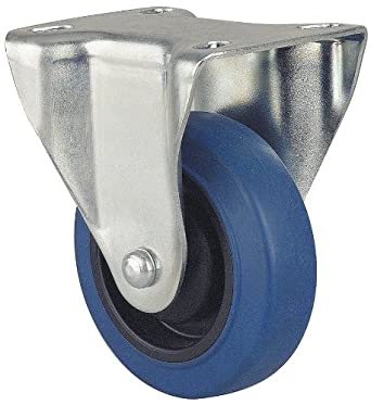 "Revvo Caster Sovereign Series Plate Caster, Rigid, Rubber Wheel, 264 lbs Capacity, 4"" Wheel Dia, 1-3/16"" Wheel Width, 5"" Mount Height, 4"" Plate Length, 3-1/8"" Plate Width"