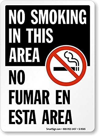 Amazon.com: No Smoking in this Area/No fumar en esta zona ...