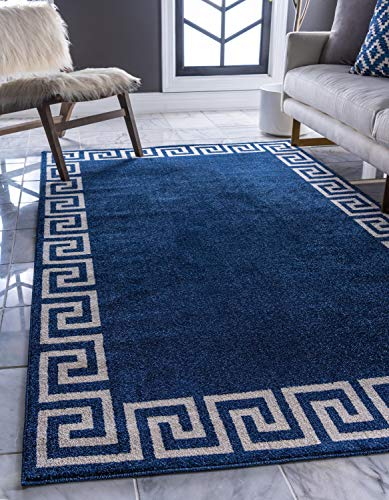- Unique Loom Athens Collection Geometric Casual Modern Border Navy Blue Area Rug (9' 0 x 12' 0)