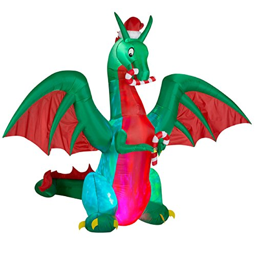 RARE GIGANTIC 9 ft Kaledioscope Holiday Dragon Airblown Inflatable Outdoor Yard Art by Gemmy