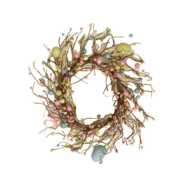 Your Heart's Delight Spring Eggs & Berries Wreath, 15 x 15 x 4, Pink/Blue/Light Green