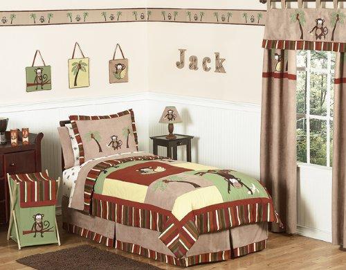 Sweet Jojo Designs Queen Kids Childrens Bed Skirt for Monkey Bedding Sets