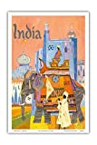 Pacifica Island Art India - Regal Elephant with a Brightly Colored Howdah (Carriage) - Vintage World Travel Poster by S. Hall c.1960s - Master Art Print - 12in x 18in