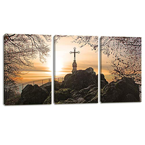 (KALAWA Christian Cross Picture Large Size 3 Pieces Canvas Prints Christ Poster Canvas Prints Home Decor for Bedroom Living Room Wooden Framed Ready to Hang(16