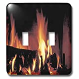 3dRose TDSwhite – Miscellaneous Photography - Roaring Fire - Light Switch Covers - double toggle switch (lsp_285433_2)