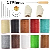 Aiskaer 21 Pieces Leather Craft Tools with Hand Sewing Needles Drilling Awl Waxed Thread and Thimble for Leather Upholstery Carpet Canvas DIY Sewing